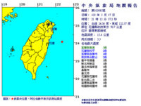 快訊/花蓮外海5.3地震 南澳3級台北搖晃十多秒
