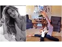 療癒系照片!吉賽兒抱女兒做瑜伽 1歲娃認真學習萌翻