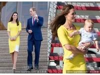 像一根香蕉!凱特王妃時尚裝被威廉譏 手抱超萌Q兒