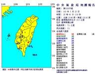 台東關山芮氏規模5.1地震 池上最晃5級有感