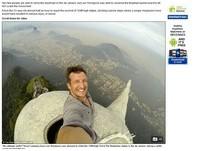 史上第一人!男爬上巴西耶穌像頭頂自拍 網友看了腿軟