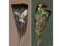 把火雞羽毛當畫布 美國藝術家手繪絢麗動物肖像超吸睛