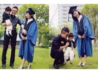 正妹碩士畢業生 抱兒子懷女兒獲讚人生贏家!