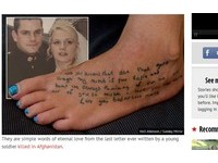 緬懷阿富汗戰死丈夫 英女把「最後情書」刺在腳上