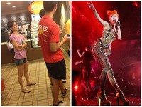 這個人是天后?孫燕姿T恤配夾腳拖 疑在麥當勞排隊