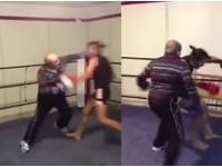 老人「左勾拳重擊」20秒解決肌肉男 網友驚:他易容?