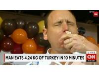 10分鐘吃光4公斤整隻火雞!大胃王「大白鯊」又創紀錄
