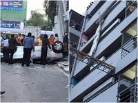直擊!婦停車失控撞穿柵欄 7樓「車頂墜地」慘死