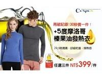 新科技! 發熱衣加入榛果油 保暖舒適更加分