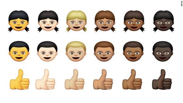 与表情符号规范机构unicode consortium合作,提供人物图像有6种肤色图片
