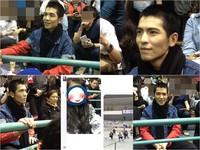 粉絲看球賽找到位子坐下 轉頭一看蕭敬騰笑笑坐旁邊!