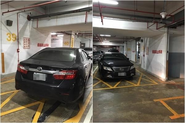 ▲▼車主將轎車停在萬芳醫院B3停車場通道處,導致5輛車受困出不去。(圖/翻攝自爆料公社)