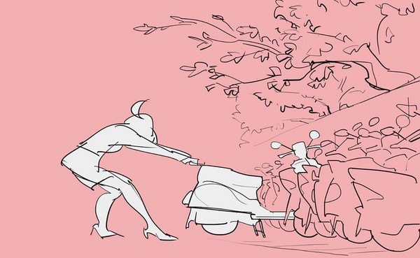 ▲台灣OL騎車日常成「嬌點」 牽車、照鏡補妝畫面美翻天(圖/《天之火創作小屋》授權提供,請勿隨意翻攝,以免侵權)