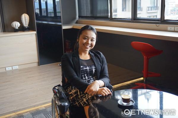 ▲▼輪椅女孩林欣蓓,有著爽朗的笑容。(圖/記者戴瑞瑤攝)