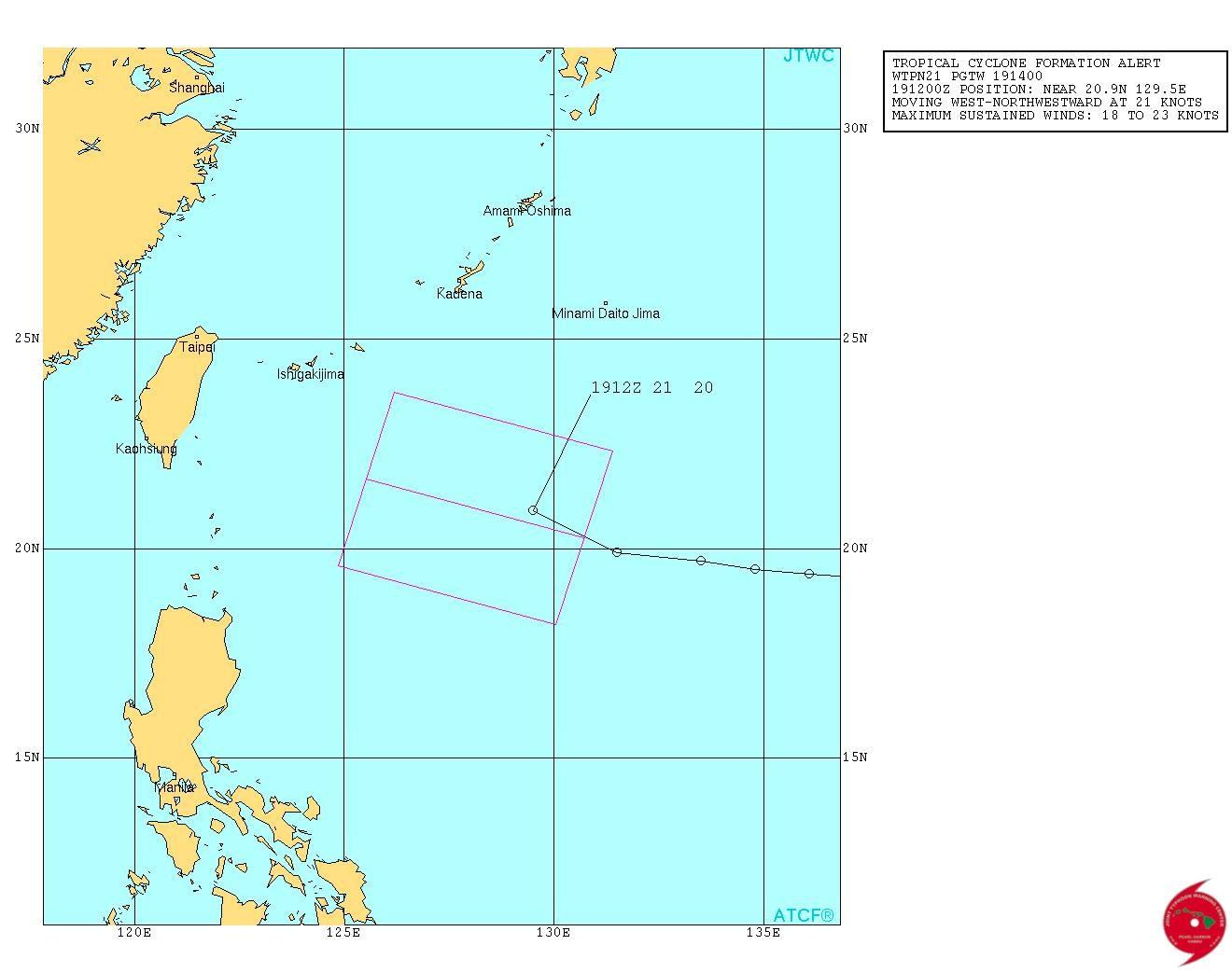 ▲▼熱帶低壓生成!快跑1天逼台掃雨 恐發「海上颱風警報」。(圖/翻攝JTWC)