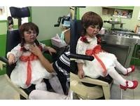 萬聖節扮安娜貝爾 沒卸妝就去看診...男童直接眼神死