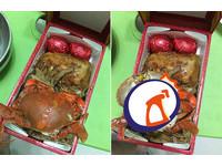 霸氣老闆送「海陸雙拼」滿月油飯 紅蟳乍現金黃卵..網:缺員工嗎
