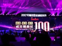 天貓雙11狂歡節正式展開 3分01秒成交額超過人民幣100億