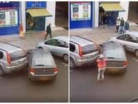 停3分鐘還刮花鄰車!女駕駛放棄落跑 後車10秒就停好