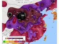 黑洞!陸PM2.5真破表「跨年夜境外污染大舉入侵」 天氣圖秒懂