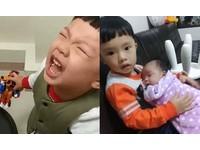 淡定妹滿月打預防針!3歲哥跪地喊燒「不要打妹妹啦」