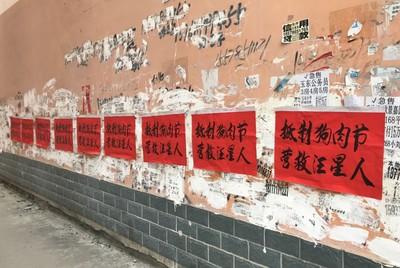 「玉林狗肉節」宰殺1萬隻汪星人 抵制紅色大字報貼滿巷弄