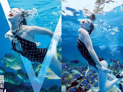 吉吉哈蒂德戴香奈兒珠寶游泳 化身最優雅美人魚