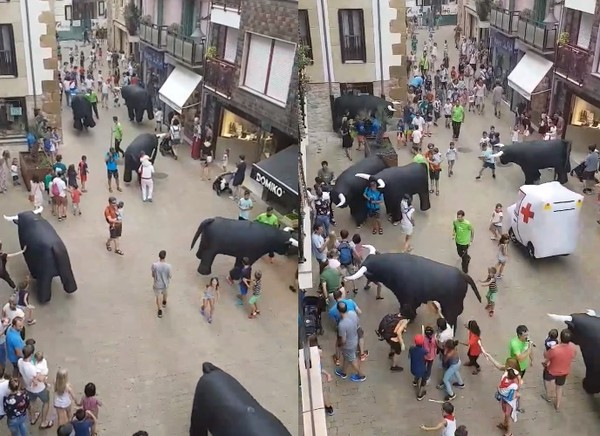 ▲最萌奔牛節!小朋友穿梭「牛群」狂尖叫 救護車都出動了XD。(圖/翻攝自Salegitaberna粉絲專頁)