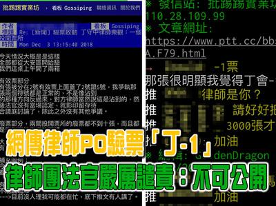 影/網傳律師PO驗票「丁-1」 律師團法官嚴厲譴責:不可公開