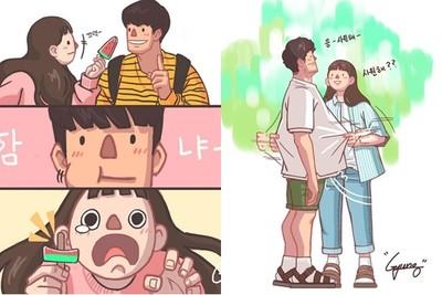 甜到長螞蟻啦!南韓情侶日常插畫 讓人看完都想談戀愛了