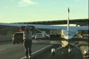 小飛機迫降高速公路 飛行員淡定下機走到草皮「解放」