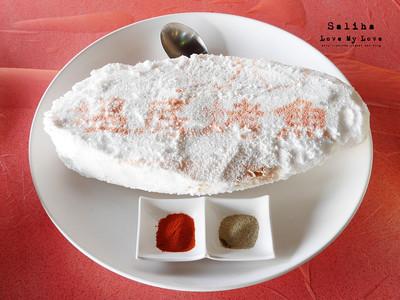 小S也推薦的鹽味烤魚!魚肚內還有開胃蒜頭、九層塔