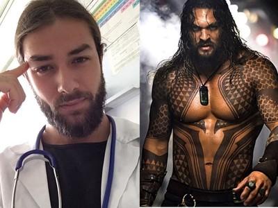 天菜醫生撞臉水行俠!「大肌肉+鬍渣長髮」 網:拜託幫我看病
