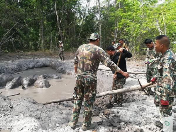▼保護員花4小時挖出坡道讓小象們爬出。(圖/翻攝自泰國塔普蘭國家公園粉專)
