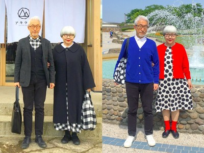 這功力太強大!日本「時尚老夫妻」Bon與Pon用穿搭放閃38年