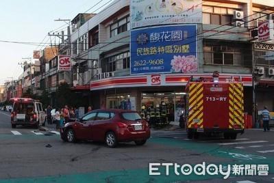 紅黃閃燈當空氣2車互撞衝進超商 店員命大閃過直呼:倒楣