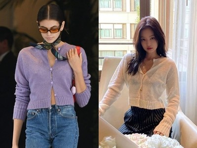 針織外套扣起來就變成性感毛衣 學Jennie、超模貝拉單穿才夠Chill