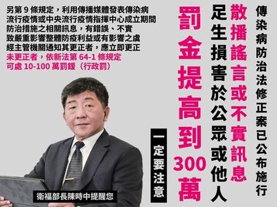 武漢肺炎散播謠言「罰金300萬」!轉傳錯誤訊息將觸法