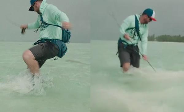 鯊魚突然出現在腳邊!釣魚男被瘋狂攻擊 「一根釣竿」當武器對戰。(圖/翻攝自instagram/kanechenoweth)